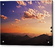 Mountain Sunset Acrylic Print by Susan Leggett