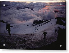 Mountaineers Cross A Snow Crusted Ridge Acrylic Print by Sam Abell