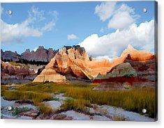 Mountains And Sky In Badlands National Park Acrylic Print by Elaine Plesser