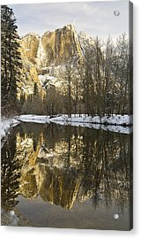 Mountains Reflecting In Merced River In Acrylic Print by Robert Brown
