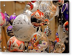 Mouth-blown Hand Painted Christmas Ornaments Acrylic Print by Christine Till