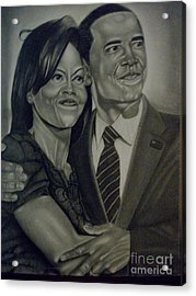 Mr. And Mrs. Obama Acrylic Print by Handy