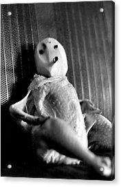 Mr. Chicken Potato Head Takes A Smoke Break In The Back Seat Of My Car Acrylic Print