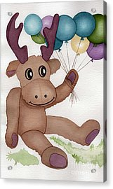 Mr Moose With Balloons Acrylic Print by Vikki Wicks