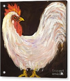 Mr. White Rooster Acrylic Print