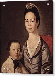 Mrs. Aaron Lopez And Her Son Joshua Acrylic Print by  Gilbert Stuart