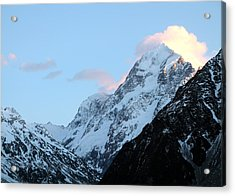 Acrylic Print featuring the photograph Mt. Cook With Sunlit Clouds by Laurel Talabere