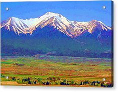 Acrylic Print featuring the digital art Mt. Princeton Morning by Brian Davis