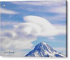 Acrylic Print featuring the photograph Mt. Rainier Lenticular Clouds by Sadie Reneau