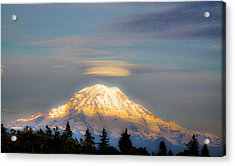 Mt Rainier Sunset With Lenticular Clouds Acrylic Print by David Patterson
