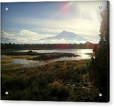 Mt Shasta Sunburst And Reflections Acrylic Print by Cindy Wright