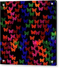 Multi Colored Butterfly Shaped Lights Acrylic Print by Lotus Carroll