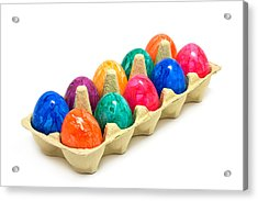 Multi Colored Easter Eggs In Egg Carton Acrylic Print by Ursula Alter