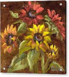 Multicolored Sunflowers With Gold Leaf By Vic Mastis Acrylic Print by Vic  Mastis