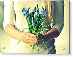 Muscari In Womans Hands Acrylic Print by Photo by Ira Heuvelman-Dobrolyubova
