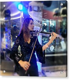 #music At The #mall #violin #música Acrylic Print