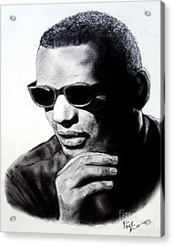 Music Legend Ray Charles Acrylic Print by Jim Fitzpatrick
