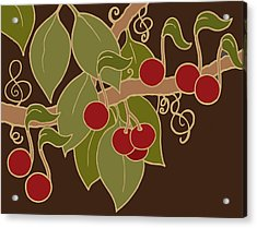 Musical Cherries Rectangle Acrylic Print