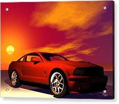 Acrylic Print featuring the digital art Mustang Gt by John Pangia