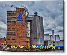 My City Smells Like Cheerios Acrylic Print by Guy Whiteley