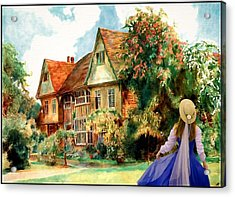 Acrylic Print featuring the painting My English Country Garden by Mary Morawska
