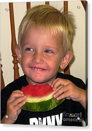 My First Watermelon Acrylic Print by Dale   Ford