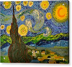 My Starry Night Inspired By The Master Vincent Van Gogh Acrylic Print by Evelyn SPATZ