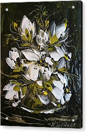 My White Roses Acrylic Print by Helen Wendle