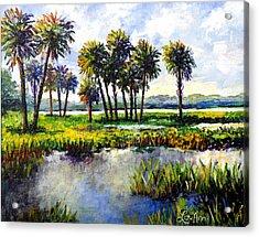 Acrylic Print featuring the painting Myakka Lake by Lou Ann Bagnall