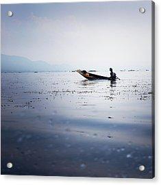 Myanmar Fisherman Acrylic Print