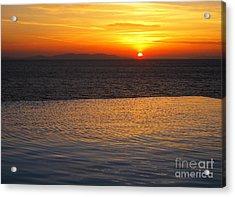 Mykonos Sunset Acrylic Print by Leslie Leda