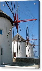 Acrylic Print featuring the photograph Mykonos Windmills by Carla Parris