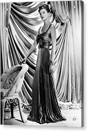 Myrna Loy Wearing Green And Yellow Gold Acrylic Print