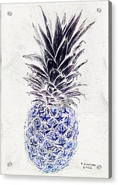 Mysterious Blue Pineapple Acrylic Print by Robert Goudreau