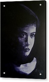 Mystery Woman In Scarf Acrylic Print by Raynette Mitchell