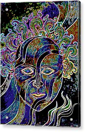 Acrylic Print featuring the drawing Mythic Mask by Nareeta Martin