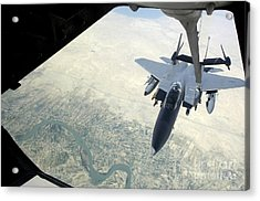 N F-15e Strike Eagle Receives Fuel Acrylic Print by Stocktrek Images