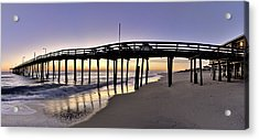 Nags Head Fishing Pier At Sunrise - Outer Banks Scenic Photography Acrylic Print by Rob Travis