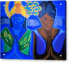 Acrylic Print featuring the painting Namaste-we Are One by Lisa Brandel