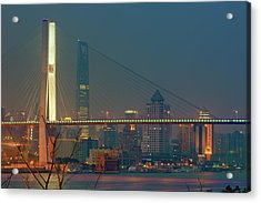 Nanpu Bridges At Sunset In Shanghai Acrylic Print by Blackstation
