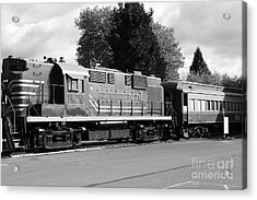 Napa Valley Railroad Wine Train Locomotive In Napa California Wine Country . Black And White . 7d899 Acrylic Print by Wingsdomain Art and Photography