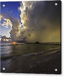 Naples Pier Storm Sunset Acrylic Print by Nick  Shirghio
