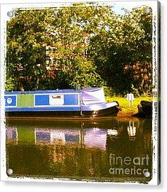 Narrowboat In Blue Acrylic Print