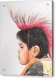 Native American Boy With Headdress Acrylic Print