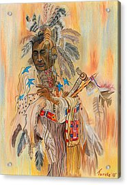Native American Colored Pencil Rendition Of A Larry Fanning Oil Painting Acrylic Print by The Nothing Machine Ink