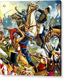 Native American Indians Vs American Soldiers Acrylic Print by Severino Baraldi