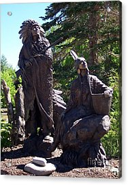 Native American Statue Acrylic Print by Chalet Roome-Rigdon