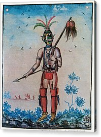 Native American With Scalps Mid-18th C Acrylic Print by Photo Researchers