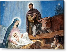 Nativity Painting At Shepherds Fields Acrylic Print by Munir Alawi
