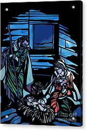 Nativity Stained Glass Acrylic Print by Methune Hively